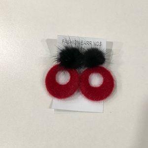 Jewelry - BNWT fuzzy statement hoop earrings